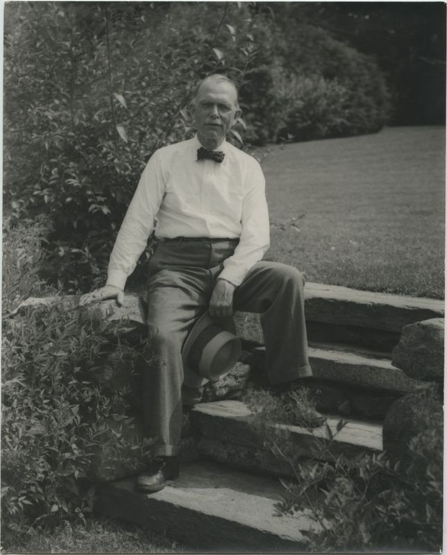 Ray Stannard Baker in his old age sitting on part of his property